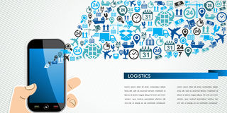 Shipping logistics mobile human hand icons splash. Stock Photos