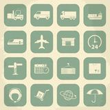 Shipping and Logistics Retro Icons. Vector Stock Image