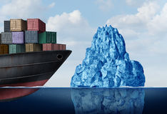 Shipping Logistics Risk. And cargo challenge as a freight ship facing a dangerous iceberg as a business import export management metaphor with 3D illustration Stock Image