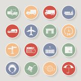 Shipping and Logistics Round Icons. Vector Royalty Free Stock Image