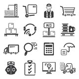 Shipping management icons set Stock Images