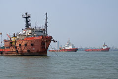 Shipping moored in the Mumbai port area stock photo