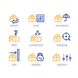Shipping options, shipment services, parcel parameters, box size and weight. Delivery services, shipping parcel, shipment options, vector line icon set Stock Photo