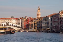 Shipping over Canale Grande, beautiful architecture and Gondolas in Venice royalty free stock images