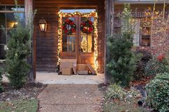 Shipping packages on porch during holiday season royalty free stock photos
