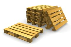 Shipping pallets. Set of wooden shipping pallets isolated over white Stock Photos
