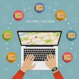 Shipping parcel tracking order flat design concept. A person keeps track of parcels Royalty Free Stock Images