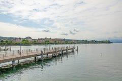 Shipping pier at Burkliplatz, lake Zuerich Stock Images
