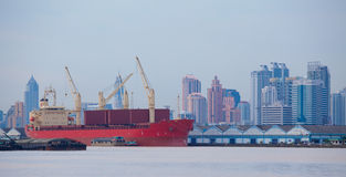 Shipping port. Industrial shipping port on sunset in Bangkok, Thailand royalty free stock image
