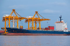 Shipping port. Industrial shipping port on sunset in Bangkok, Thailand stock images