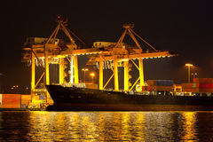 Shipping port. Industrial shipping port on sunset in Bangkok, Thailand stock image