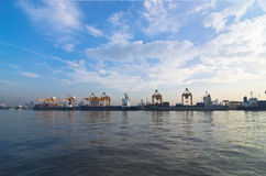 Shipping port. For Logistic Import Export background stock images