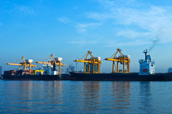 Shipping port. For Logistic Import Export background royalty free stock photography