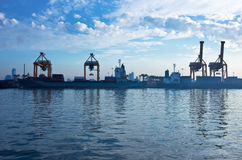 Shipping port. For Logistic Import Export background stock photography