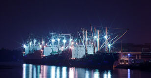Shipping port. Industrial shipping port at night in Bangkok, Thailand Stock Photo