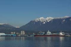 Shipping Port. With mountains in background Stock Photography