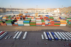 Shipping port with buses and containers Royalty Free Stock Photography