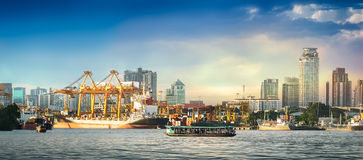 Shipping port in city Stock Image