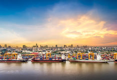 Shipping port in city Stock Photo