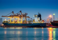 Shipping Port. With crane for container uploading Royalty Free Stock Image