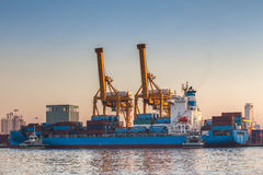 Shipping port Is a harbor.  stock image