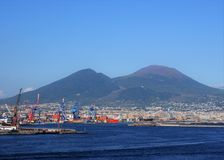 Shipping port with Mt. Vesuvius in background Stock Photo