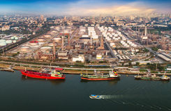 Shipping port and oil refiner Stock Images