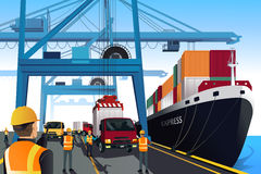 Shipping port scene. A vector illustration of shipping port scene vector illustration