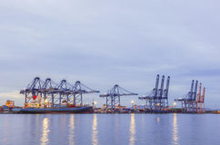 Shipping port, Shipping Industry. Maritime transport and logistics, The cargo ship Royalty Free Stock Photography