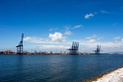 The shipping port in Thailand. Shipping port with beautiful sea in Thailand Stock Image