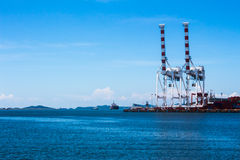 The shipping port in Thailand. Shipping port with beautiful sea in Thailand Royalty Free Stock Photos