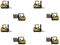 Shipping and receiving. Forklift with full load and empty forklift showing concept of busy warehouse Royalty Free Stock Image