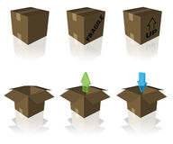 Shipping and receiving boxes. Six styles of shipping and receiving boxes with reflections isolated on white Stock Photography