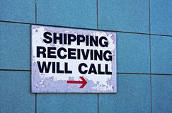 Shipping and receiving sign Stock Photography
