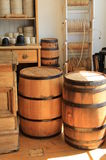 Shipping room. Historical shipping room with barrels and twine Stock Photography