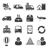 Shipping service icons. Set of 16 delivery service, shipping service icons Stock Images