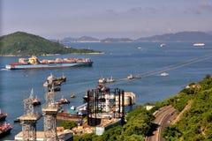 Shipping sight in a harbor of Hongkong city, 2016. Island and sea around Hongkong city, shown as people life and environement in Hongkong, and harbor or shipping Royalty Free Stock Image