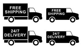 Shipping silhouette labels. Free shipping silhouette labels. Vector illustration royalty free illustration