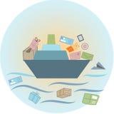 Shipping. To barevním background, rapid transport of mail Royalty Free Illustration