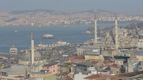 Shipping traffic in Istanbul, Turkey. Istanbul, Turkey - March 23, 2014: Shipping traffic in Bosporus strait and Golden Horn bay. Bosporus is the second busiest stock video