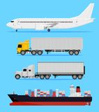 Shipping transportation. Shipping and delivery vehicles, trucks, aircraft and cargo ship on a blue background Stock Photos