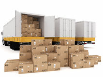 Shipping with truck. Loading stack of packed boxes on truck Royalty Free Stock Photos