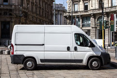 Shipping van in the city Stock Image