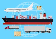 Shipping vehicles composition Royalty Free Stock Images