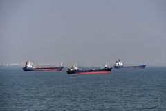 Shipping vessel on the sea Stock Images