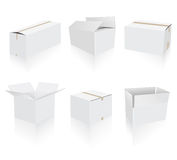 Shipping white boxes collection Royalty Free Stock Images