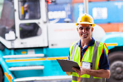 Shipping worker forklift Royalty Free Stock Images