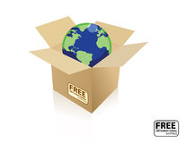 Shipping world box. A International free shipping icon. The icon has a cardboard box with a globe inside. vector file also available stock illustration