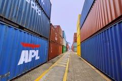 Shippment和货物在厦门容器围场,福建,中国 免版税库存图片