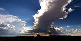 Shiprock Cloud. A huge vertical thunderhead over Shiprock Stock Image